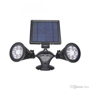 LED impermeabile Security ruotabile Spotlight luce solare esterna 12 di energia solare LED Dual Head PIR del sensore di movimento del giardino del muro