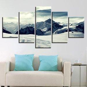 Dropship Cuadros Decoracion Dormitorio 5 peças de Posters Estética Montanha da neve e pintura Prints Canvas