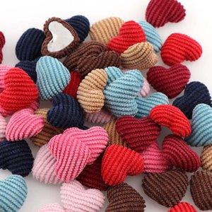 Смешивать цвета 20 мм 20 шт. вельветовая форма сердца детская одежда покрыта кнопка Flatback Cabochon DIY украшения кнопки скрапбукинг DIY