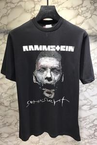 Vetements Rammstein tişört Erkek Kadın Hip Hop Heavy Metal Tişörtler Kısa Kollu Mürettebat Boyun Pamuk Jersey Gömlek Streetwear