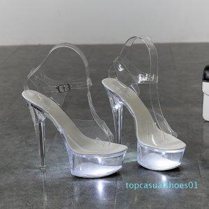 Light Up Glowing Shoes Woman Luminous Clear Sandals Women Platform Shoes Clear High Heel Transparent Stripper Wedding Shoes t01