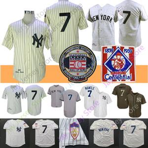 Mickey Mantle Jersey Coopers-1951 de béisbol de la ciudad Salón de la fama crema tela a rayas gris cáñamo casa Fuera Hombres tamaño M-3XL
