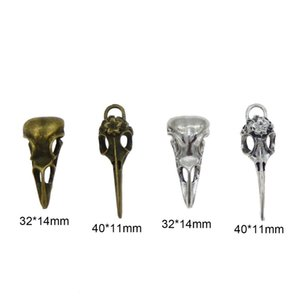 4pcs Steampunk Raven Bird Skull Pendants Charms Necklace Jewelry Findings 32*14mm 40*11mm Candy Car Pendants Gift