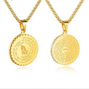Mens collane dei pendenti in acciaio inox Vintage Gioielli in oro / argento / nero preghiera cristiana mani intorno Coin Scrittura collana con catena