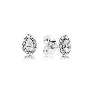 drop gros-LUXE Fashion Tear CZ diamant dormeuses pour Pandora Argent 925 femmes Boucles d'oreilles ensemble cadeau de mariage boîte