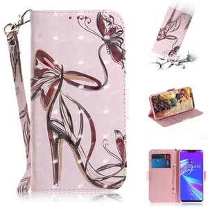 3D Colored Drawing Butterfly High-heeled Shoes Pattern Horizontal Flip Leather Case for Asus Zenfone Max ZB633KL, with Holder & Card Slots