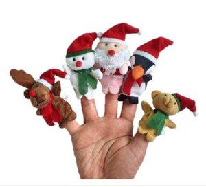2019 5pcs / set doigt de noël PUPPET belle bande dessinée main marionnette bébé conte une bonne aide Peluches jouets marionnettes à doigt