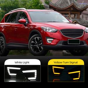 돌려 신호 스타일 릴레이 12V 5 2012 2013 2014 2015 2016 CX 마즈다 CX5의 CX5를위한 안개 램프 구멍 빛을 실행하는 자동차 DRL 낮 주도