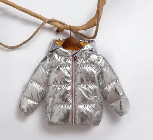 2018 Kinder Winterjacke für Kinder Mädchen Silber Gold Jungen beiläufige mit Kapuze Mantel-Baby-Kleidung Outwear Kinder Parka Jacke Snowsuit