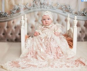 Christening Gown Baptism Dress Girls Christening Gown Set with Pink Underlay Custom Made First Communion Gowns