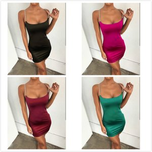 Sexy Womens Designer Dress Rhinestone Suspender Skirt Ins Fashion Panelled Design Dress Lingeries Womens Clothing Summer Hot Sale 4 Color