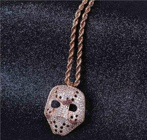Europäische und amerikanische Explosive Mode Persönlichkeit Retro Maske hängend Hip-Hop Hochwertige Halskette Trend Micro-Intarsien Zirkon Halskette Jewe