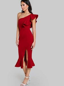 Cheap Red Mermaid Cocktail Party Dresses Deep V Neck Sleeveless Satin Evening Gowns Knee Length New Fashion Formal Prom Dresses