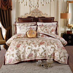 Coffee Satin Jacquard Royal Bedding set Queen King size Bed set Duvet cover Bed Flat sheet Bed spread Pillowcase