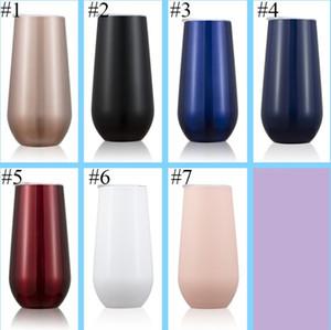 7 개의 색깔 6oz 피리 계란 컵 와인 안경 텀블러 stemless 금 스테인리스 두 배 벽으로 둘러싸인 진공에 의하여 격리되는 머그컵과 뚜껑을 맑게 LLFA