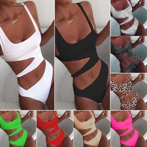 2020 New Sexy White One Piece Swimsuit Women Cut Out Swimwear Push Up Bikinis Monokini Bathing Suits Beach Wear Swimming Suit For