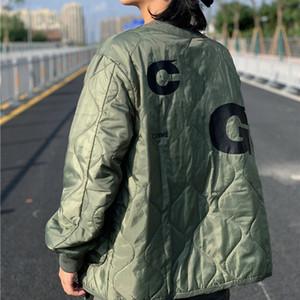 19FW cotton-padded Des Lettera di stampa del V-Neck Button caldo Coppia caldo inverno cappotti Outdoor Fashion Street Casual Oversize HFHLJK073