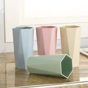Accesorios de cocina Diseño simple Paja de trigo Taza de cepillado geométrica Forma de diamante Taza de grado alimenticio Taza de desayuno Café Leche Taza de trigo DH0073