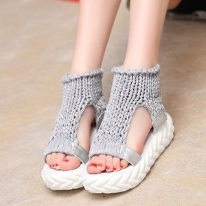 Leisure Women Sandals Fashion Knit Thick Sole Lazy Wedges Shoes Anti Slip Summer Platform Shoes Lady Sandalias Big Size