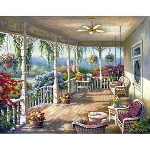 العمل الفني البحر الأبيض المتوسط Dixies شرفة النفط لوحات مرسومة باليد الفن قماش عالية الجودة الديكور جدار