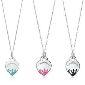 collana di gioielli femminili in argento 925 catena di fascino etichetta cuore spruzzi