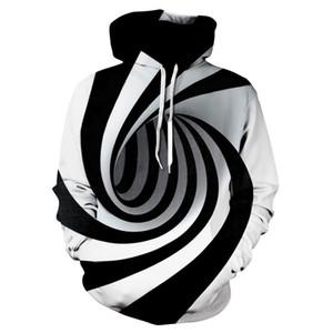 3D Digital Vortex con cappuccio Felpe con cappuccio Mens Designer pullover casuale popolare Felpe Moda Uomo di contrasto di colore vestiti lunghi manica