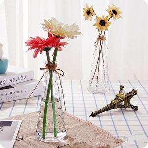Nordic Glass Vases Living Room Table Decoration Transparent Water Hydroponics Flower Rope Dry Flower Vase Diy Bottle