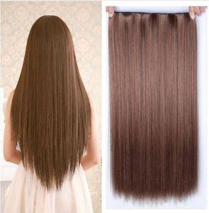 60 سم 5 كليب في الشعر التمديد مقاومة للحرارة آدمي وهمية تسريحات الشعر مستقيم طويل الاصطناعية في مقطع في الشعر