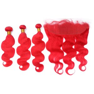 Red Colored Virgin Indian Human Hair Wefts with Full Lace Frontal 13x4 Body Wave Pure Red Virgin Hair Weaves 3Bundles with Frontal Closure