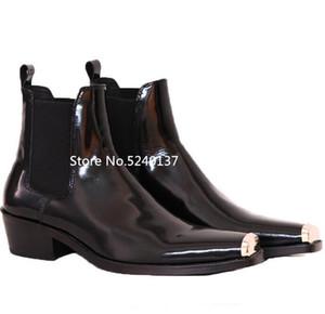 Yeni Metal Ayak Dekorasyon Siyah Erkekler Bilek Boots Geçmeli Chunky Topuk Gerçek Deri Süet Kısa Çizme Men