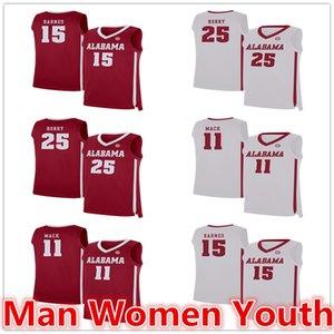 su misura Alabama Crimson Tide basket maglie Robert Horry 25 Tyler Barnes 15 Tevin Mack Jersey 11 NCAA qualsiasi numero nome S-5XL