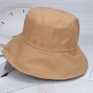 Yeni Kepçe Şapkalar Yüksek Kalite Pamuk Harf İşlemeli Katlanabilir Balıkçı Şapka Açık Güneşlik Dekorasyon Sokak Charm Unisex