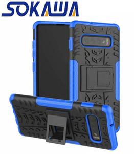 Pour Samsung Galaxy S10 Plus S10e Cas Dur Hybrid Caoutchouc Armure Peau Douce TPU Gel Rugueux Heavy Duty Stand Silicon Couverture De Téléphone