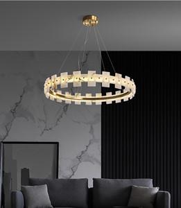 Nordico di lusso di lusso anello di rame anello lampadario domestico soggiorno ciondolo luce decorazione della lampada arte fixture PA0621