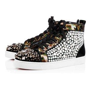 Designer Shoes Suede Shoes Bas de Spike simples de femme Hommes Triple Blanc Noir multi-couleur rouge de soirée de mariage plat Rivet Sneakers LTS