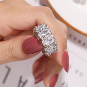 925 SILVER قطع PAVE الإعداد الكامل وسادة مقلد الماس CZ ETERNITY BAND الخطوبة WEDDING ستون خواتم الحجم 5،6،7،8،9،10