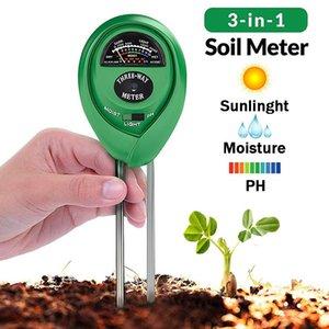 3 en 1 metro de prueba del suelo probador de agua PH Humedad Luz Kit higrómetro para el jardín Flor de la planta