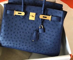 özgün tasarım el yapımı mum parçacığı Lacivert devekuşu çanta, altın, gümüş donanım, seçilen makine tarafından hızlı teslimat için 25 30 35cm