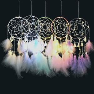 LED main Moon Light Dream Catcher plumes voiture Accueil Tenture Ornement Décoration cadeau Dream Catcher Wind Chime Livraison gratuite