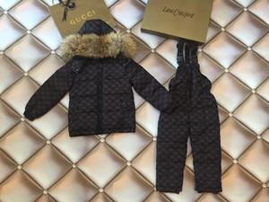 Chaqueta para niñas Chaqueta con capucha de piel Niños Abrigo de invierno Conjunto de monos Traje deportivo sólido para niños Traje de esquí Traje de nieve Ropa cálida para niños 0818