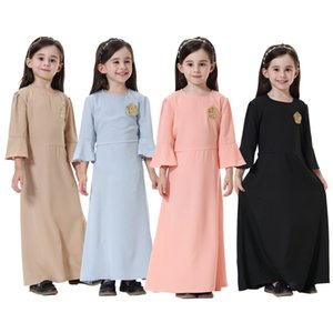 2020 New Girls Long Sleeve Dresses Cute Flower embroider Flare Sleeve Kids Dress Children Solid colors Long Dress S031