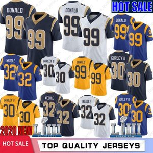 30 Todd Gurley jerseys 99 Aaron Donald 16 Jared Goff 32 Eric Weddle fútbol jerseys cosido 2020 Nuevo