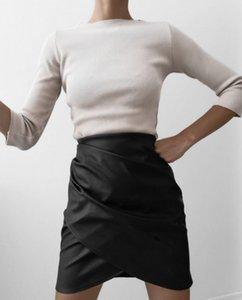 Womens Ladies Pencil Skirt PU Leather Bodycon Enrole Saia Moda cintura alta Irregular Mini vestido clássico feminino mini saia