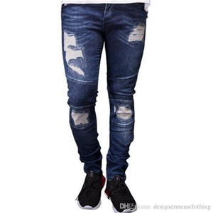 2019 Yeni Erkek Tasarımcı Biker Jeans Yaz İlkbahar Nakış Denim Blue dökümlü Hiphop Sokak Ripped Jeans