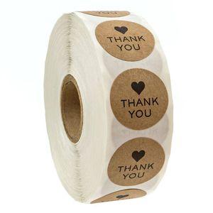 1 인치 당신에게 검은 심장 시장 프로모션 선물 포장 자체 접착 라벨 베이킹 DIY 라벨과 함께 크래프트 종이 패키지 스티커 라운드 감사합니다