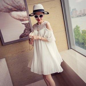 2020 Umstandskleid Spitze-Patchwork Chiffon faltete Kleid schwangere Frauen Sommer weg von der Schulter Prinzessin schwarz / weiß