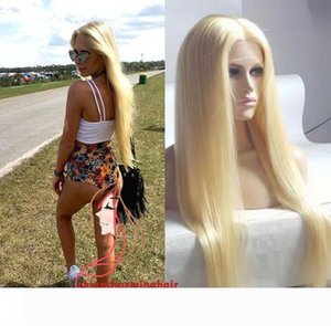 Brazilian High Quality 613 Blonde Full Lace Wig Glueless Lace Front Wig natural silky straight Human Hair Wigs With free parting Freeship