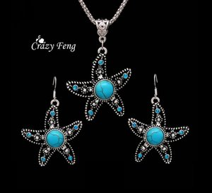 Cheap Sets Free Shipping Stone Jewelry Set Retro Tibetan Silver Dangle Crystal Starfish Pendant Necklace Earring Sets Jewelry for Women