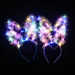 LED-Haar-Band beleuchtet oben Haarkranz Haarreif Garlands Weihnachten Glühend Partei-Blumen-Stirnband-Katze-Ohr-Haarband Haarschmuck GGA2924