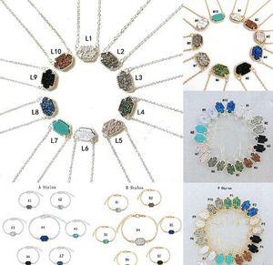 Colares de pedra Druzy Dangle Brincos Geométrico Natural pedra Pingente Charme Pulseira Anéis Para mulheres Meninas Moda Jóias em massa GB1181